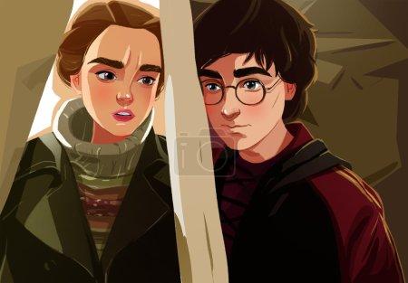 Photo pour Harry Potter et Hermione, portrait dessin animé - image libre de droit