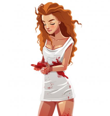 Photo for Cute, sad, red haired girl in bloody shirt, broken heart concept - Royalty Free Image