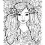 Pretty elegant girl with wreath. Vector. Hand draw...