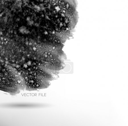 Illustration for Vector art. Abstract painted background. Ink splatter texture, water paint. Web and mobile interface template, website design. Minimalistic backdrop. Black and white - Royalty Free Image