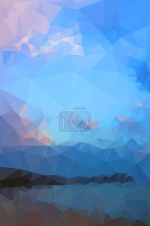 Illustration for Mountains, sea, sky. Triangle background, vector polygon art, soft colored abstract illustration. Web mobile interface template. Travel corporate website design. Blurred. Landscape. Instagram style. - Royalty Free Image