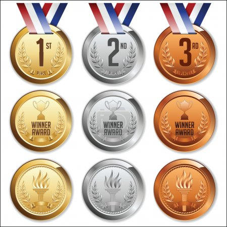 Illustration for Medals with Ribbon. Set of Gold, Silver and Bronze Medals. Vector. - Royalty Free Image