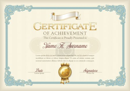 Certificate of Achievement Vintage Frame. Landscape.