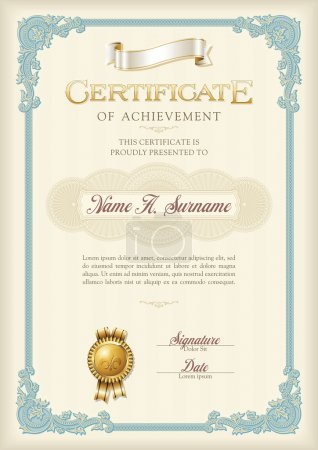Illustration for Certificate of Achievement Vintage Frame. Portrait. - Royalty Free Image