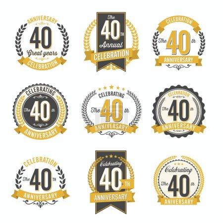 Illustration pour Ensemble d'insignes d'anniversaire rétro Fête du 40e anniversaire - image libre de droit