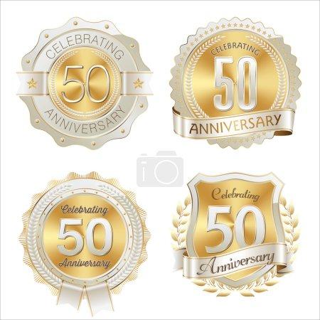 Illustration pour Ensemble d'or et d'insigne d'anniversaire blanc 50e anniversaire de célébration - image libre de droit