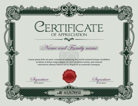 Illustration for Antique Vintage Ornament Frame Certificate of Appreciation Green. - Royalty Free Image