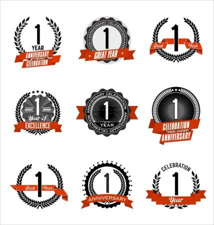 Illustration pour Ensemble d'insignes d'anniversaire vintage Célébration de la 1re année noire et rouge - image libre de droit