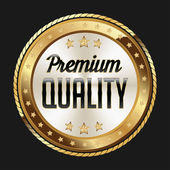 Gold and White Badge on Black Background Premium Quality