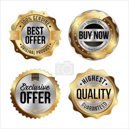 Gold and Silver Badges. Best Offer, Buy Now, Exclusive Offer, Highest Quality.