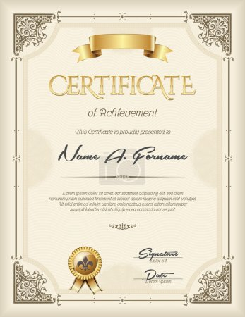 Illustration for Certificate of Achievement Vintage  Frame Beige Portrait - Royalty Free Image