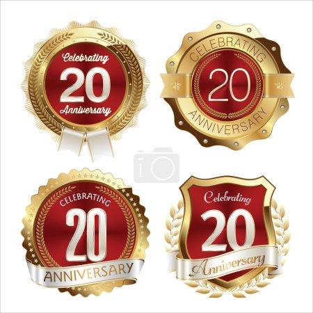Illustration pour Insignes d'anniversaire en or et en rouge 20e anniversaire - image libre de droit