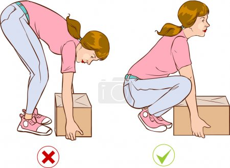 Safe handling of heavy items, woman