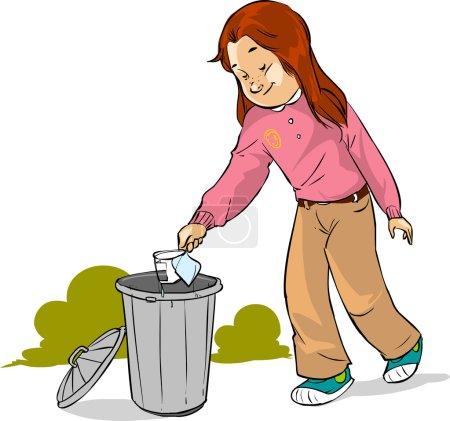 The children throw garbage