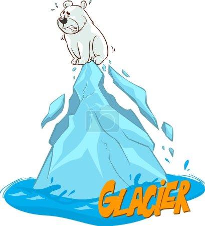 cartoon vector illustration polar bear global warming