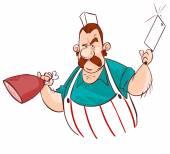 屠户用刀和肉类。矢量插画