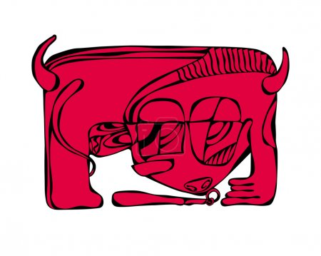 abstract bull red