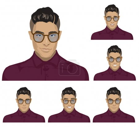 Illustration for Attractive black haired young hipster man with glasses on six different face expressions collection. Set of original character Stylish Asian Fashion guys in glasses with elegant clothing style - Royalty Free Image
