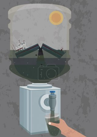 Illustration of pollution of  water