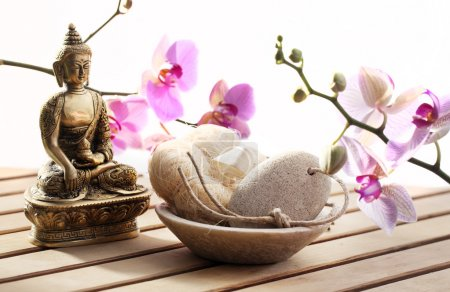 Photo for Buddha at spa for meditation and inner beauty - Royalty Free Image