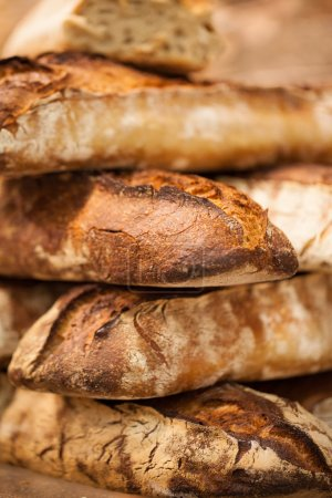 closeup of crusty wholewheat baguettes