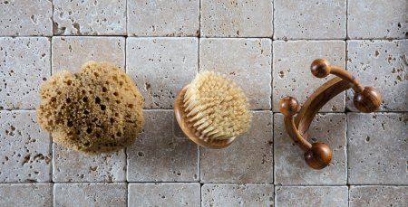 bath accessories with natural sponge, wooden body brush and massager