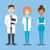 Vector characters: doctor and nurse medical colleagues