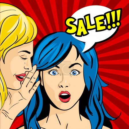 "Illustration for Vector pop art surprised woman face with open mouth and girl whispering something to her. Speech bubble and the word ""Sale"" in it. - Royalty Free Image"