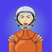 Vector illustration of pop art beautiful young woman in astronaut helmet and space suit Retro Style