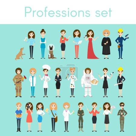 Photo pour Ensemble vectoriel de différentes professions féminines colorées. personnages de femmes de bande dessinée. Médecin, volontaire, pompier, serveur, juge, programmeur, artiste, pilote, photographe, coiffeur, astronaute, femme d'affaires . - image libre de droit