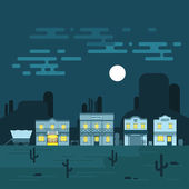 Vector illustration of an old western town at night