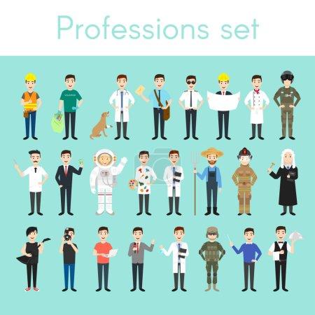 Photo pour Ensemble vectoriel de différentes professions masculines colorées. personnages d'hommes de bande dessinée. Médecin, volontaire, vétérinaire, pompier, serveur, juge, programmeur, artiste, pilote, photographe, coiffeur, astronaute, homme d'affaires . - image libre de droit
