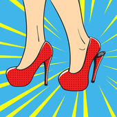 Vector hand drawn pop art illustration of an elegant woman shoes