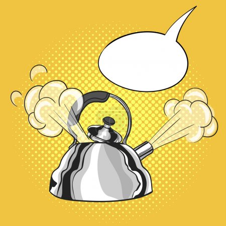Vector hand drawn pop art illustration of kettle w...