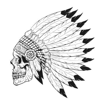 Vector monochrome illustration of stylized skull wearing native  American war bonnet