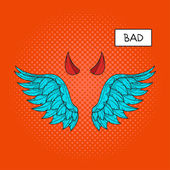 Vector hand drawn pop art illustration of devil wings and devil horns at the top