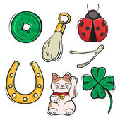 Vector set of Lucky Charms Symbols and Talismans