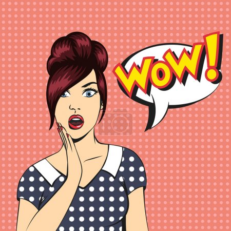 Illustration for Vector pop art surprised woman face with open mouth and a WOW bubble - Royalty Free Image