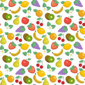 Vector seamless pattern with apples strawberries lemons kiwi fruits grape bananas cherries pears and oranges