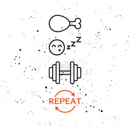 Illustration pour Affiche vectorielle de motivation avec des icônes - Mangez Sleep Train et un mot - Répétez . - image libre de droit