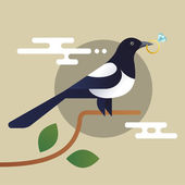 Illustration of magpie holding the diamond ring