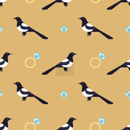 Seamless pattern with luxury golden rings and magpies.