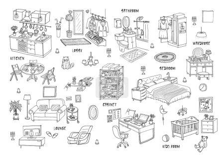 Illustration pour Doodle ensemble de différents croquis intérieurs dessinés à la main, illustration vectorielle. Isolé - image libre de droit