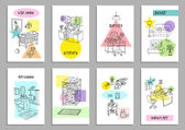 Set of eight creative interior cards