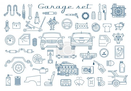 Garage. Autoteile Set