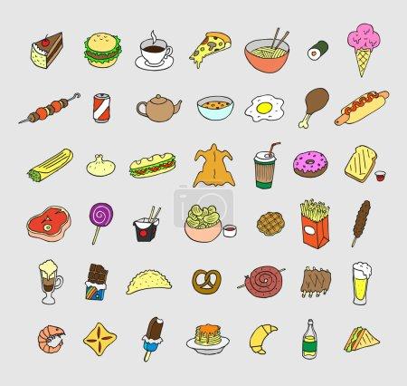 Photo pour Ensemble d'icônes sur la nourriture et les boissons. Doodle. Croquis . - image libre de droit