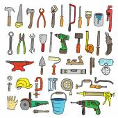 Construction tools collection - vector silhouette Doodles Isolated