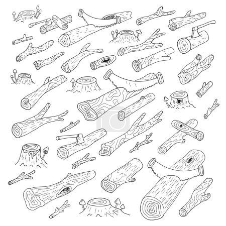 Illustration pour Des billes. Du bois. Forêt sur fond - image libre de droit