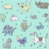 Chinese zodiac Seamless pattern
