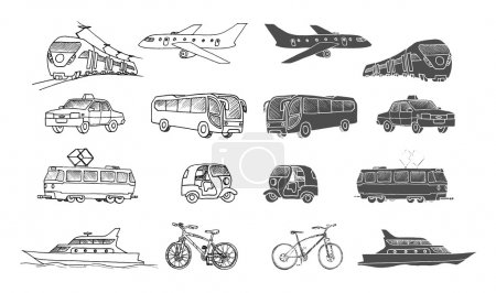 Illustration for Hand drawn collection of passenger transports . Doodle set. Isolated - Royalty Free Image